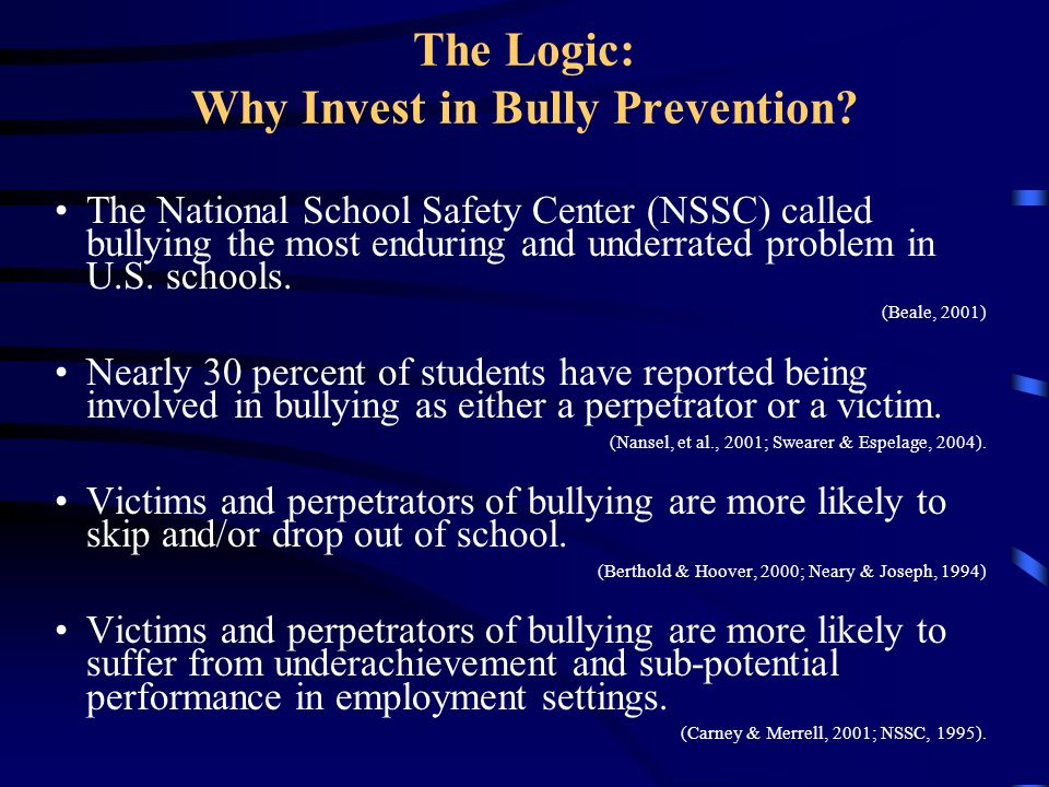 The Logic: Why Invest in Bully Prevention