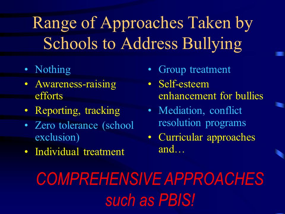 Range of Approaches Taken by Schools to Address Bullying
