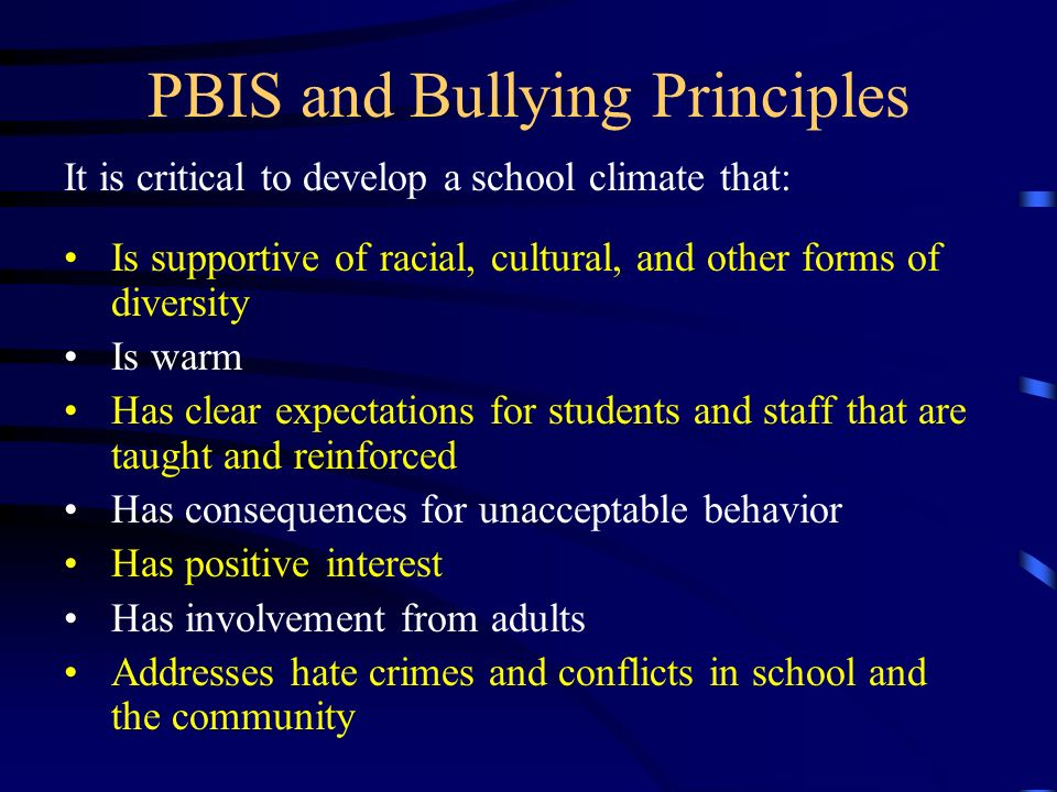 PBIS and Bullying Principles