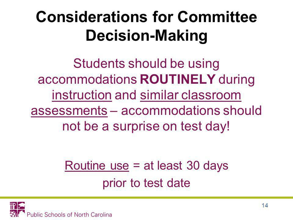 Considerations for Committee Decision-Making