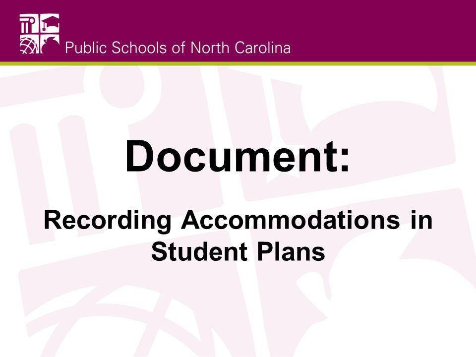 Recording Accommodations in Student Plans