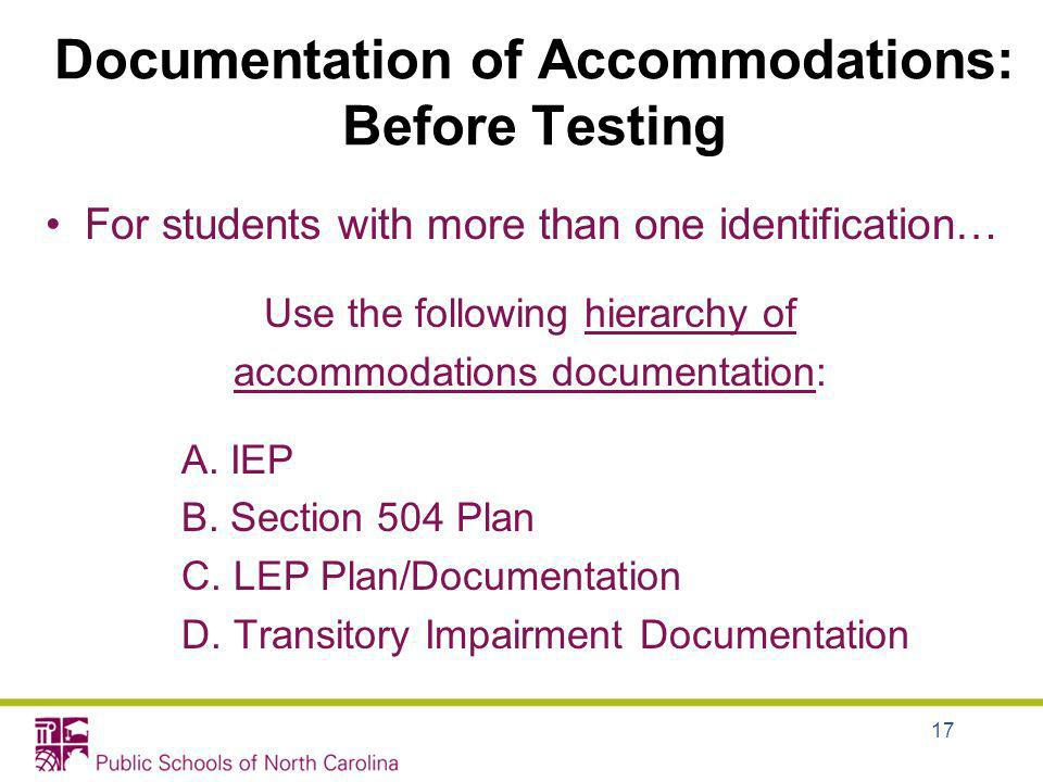 Documentation of Accommodations: Before Testing