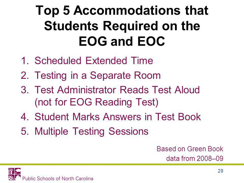 Top 5 Accommodations that Students Required on the EOG and EOC