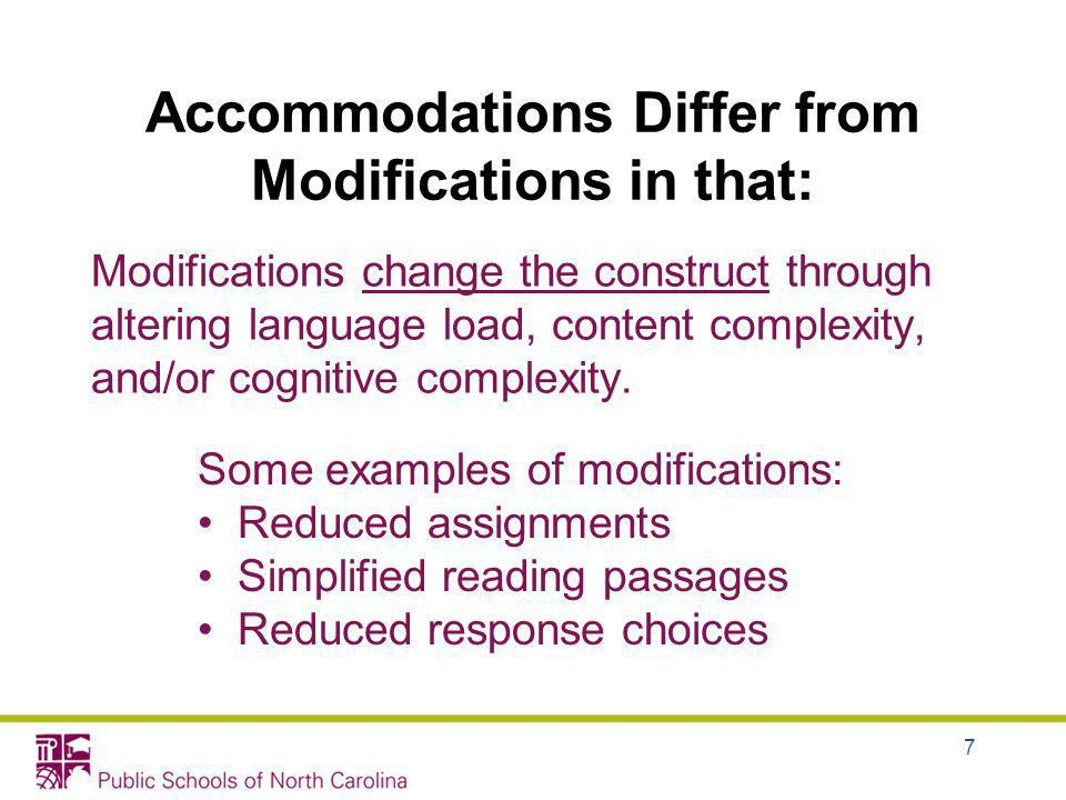 Accommodations Differ from Modifications in that:
