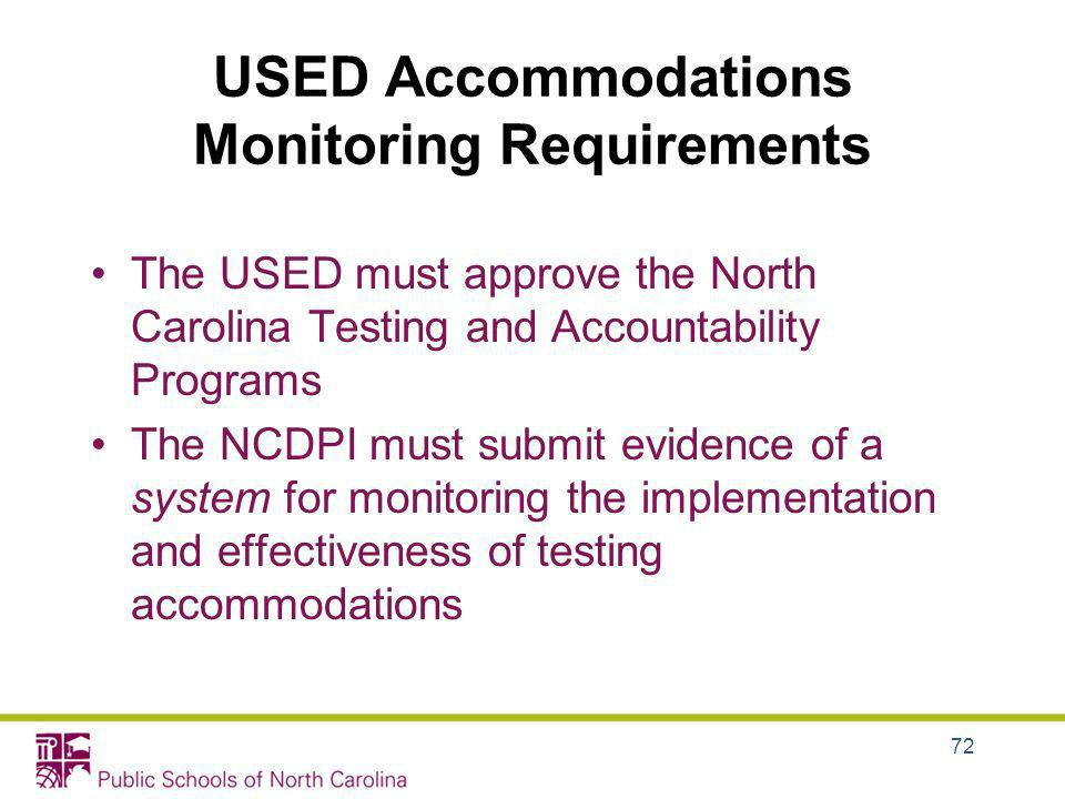 USED Accommodations Monitoring Requirements