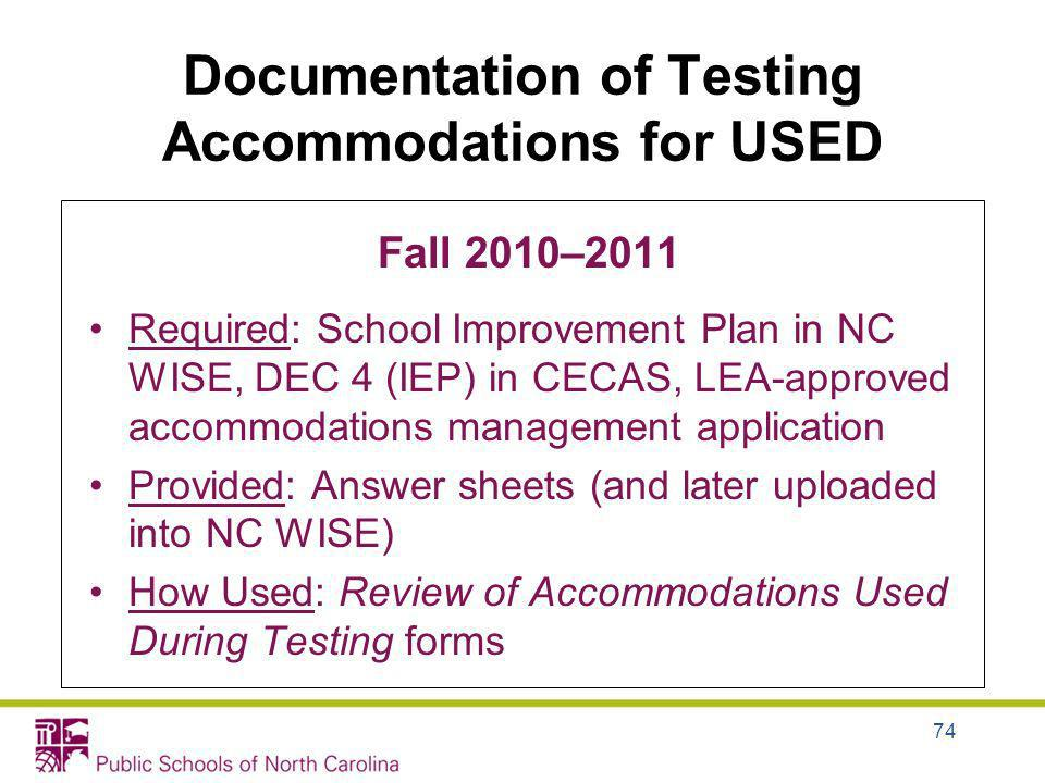 Documentation of Testing Accommodations for USED