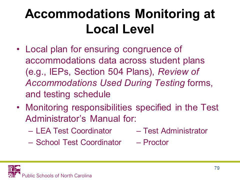 Accommodations Monitoring at Local Level