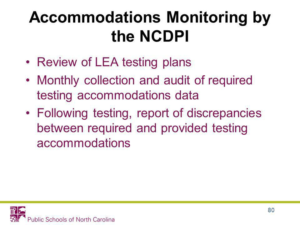 Accommodations Monitoring by the NCDPI