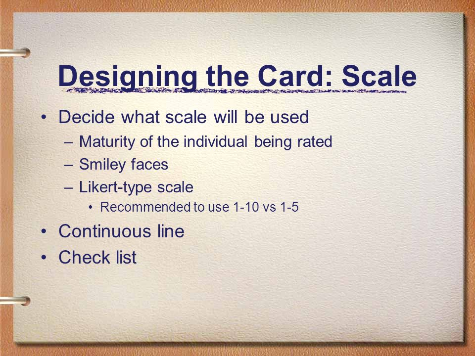 Designing the Card: Scale