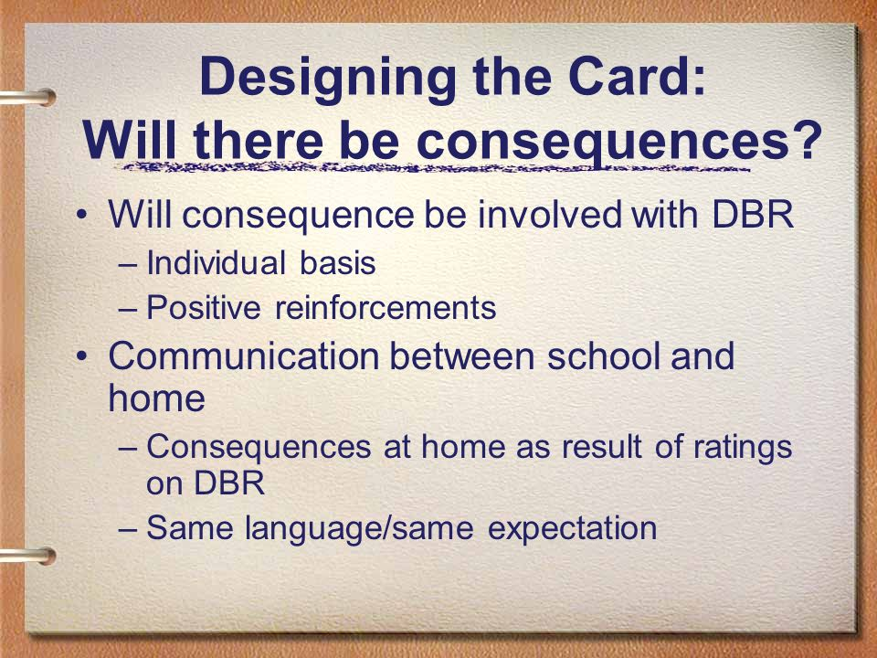 Designing the Card: Will there be consequences