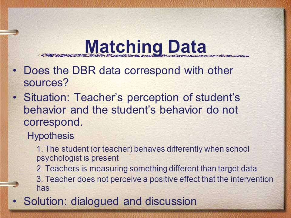 Matching Data Does the DBR data correspond with other sources