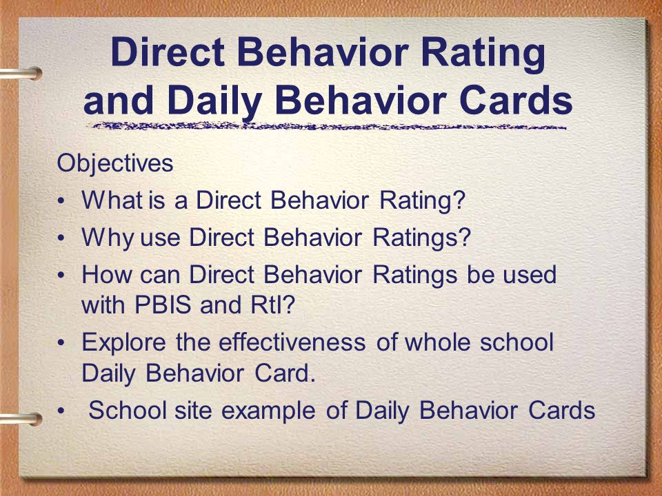 Direct Behavior Rating and Daily Behavior Cards