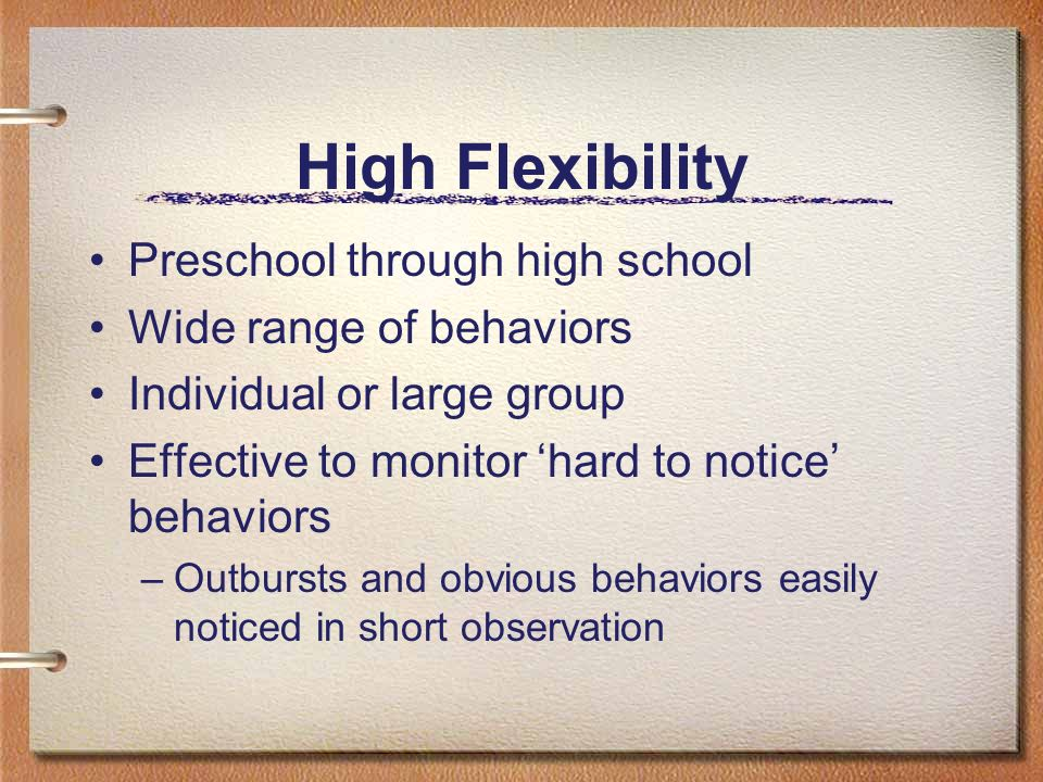 High Flexibility Preschool through high school Wide range of behaviors