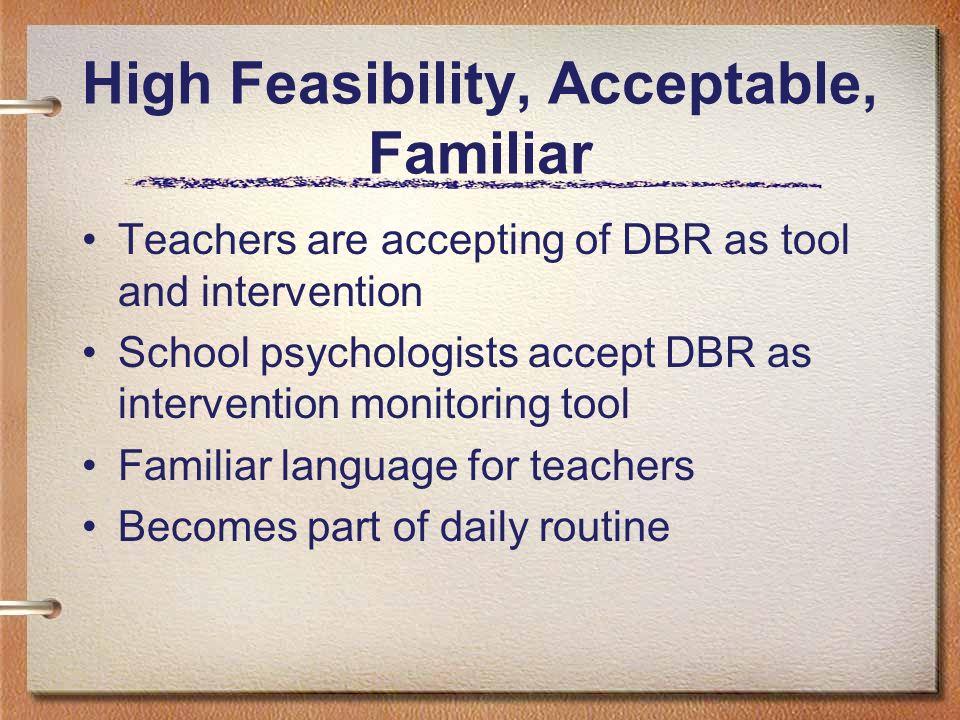 High Feasibility, Acceptable, Familiar