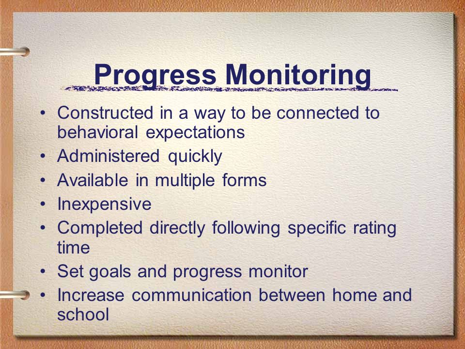 Progress Monitoring Constructed in a way to be connected to behavioral expectations. Administered quickly.