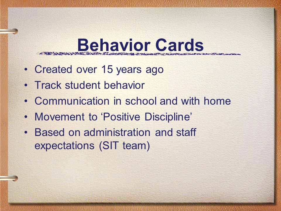 Behavior Cards Created over 15 years ago Track student behavior