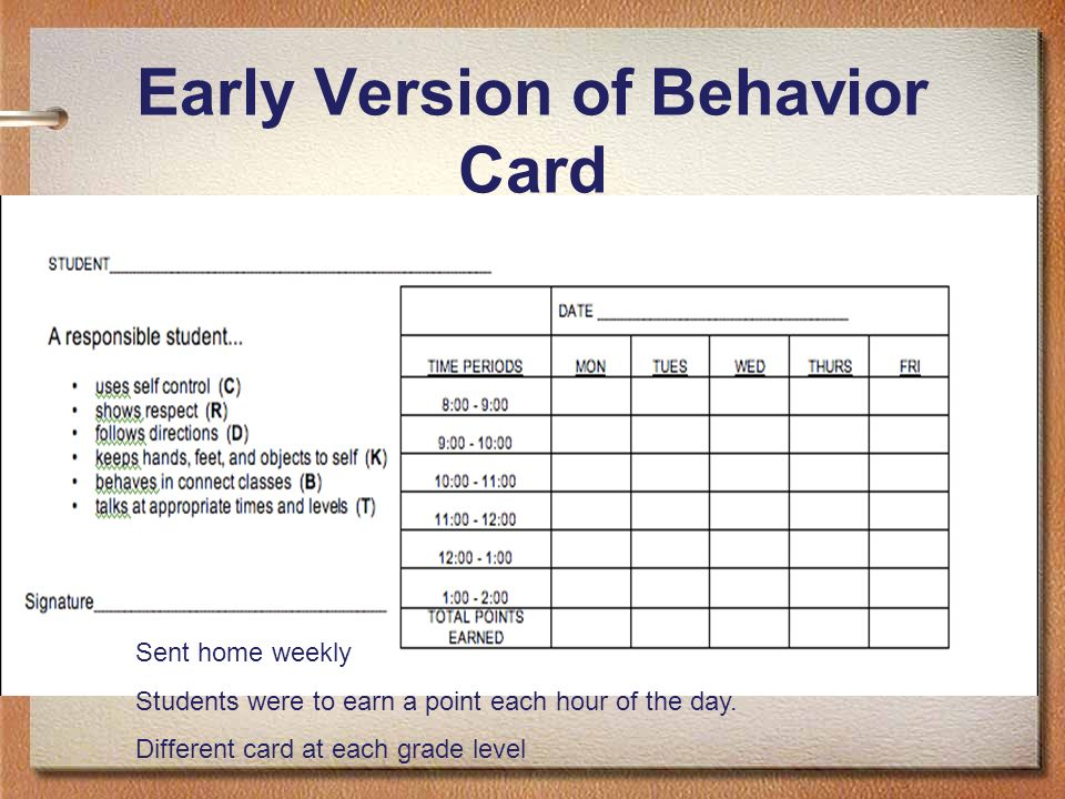 Early Version of Behavior Card