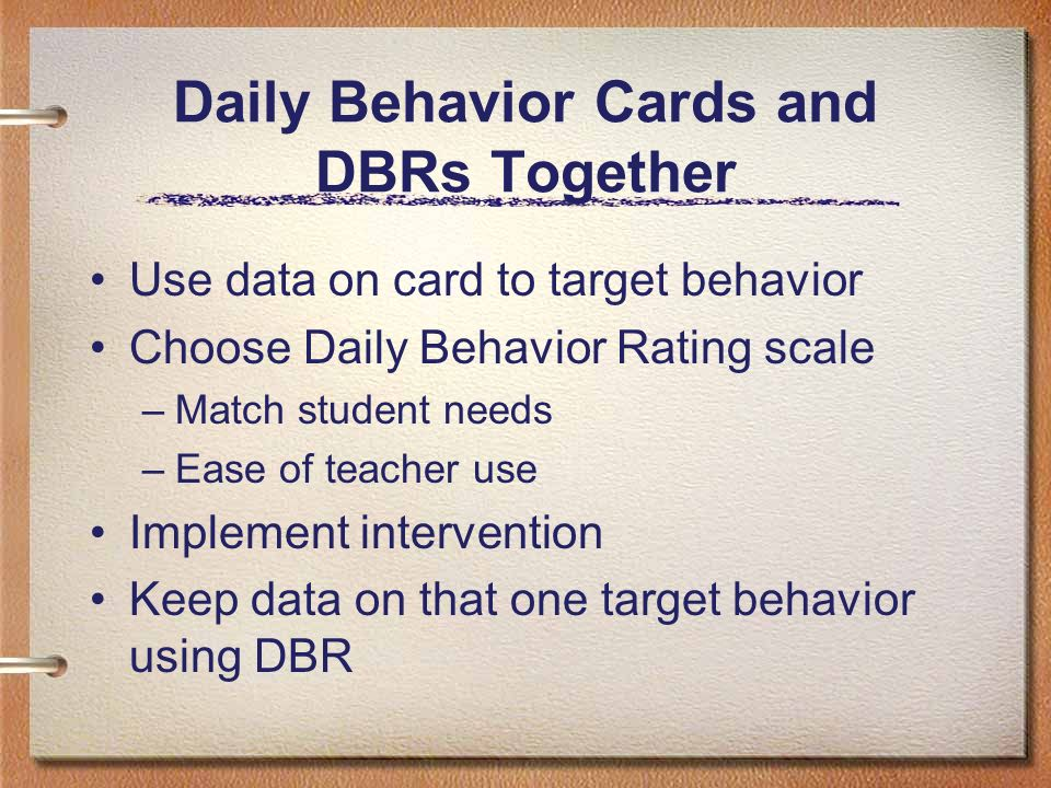 Daily Behavior Cards and DBRs Together