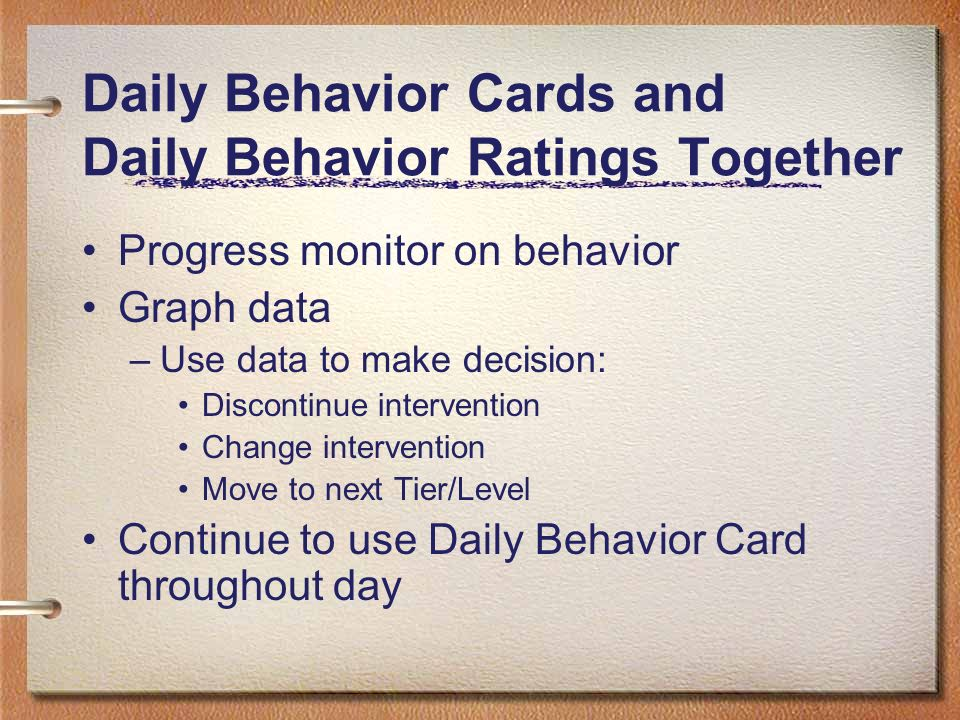 Daily Behavior Cards and Daily Behavior Ratings Together