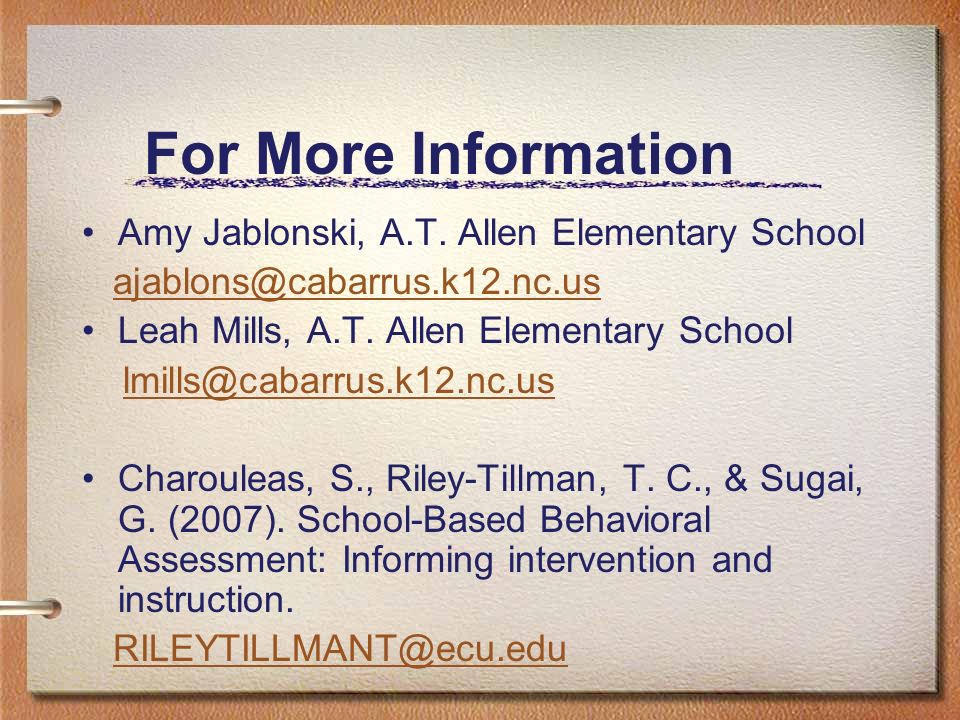 For More Information Amy Jablonski, A.T. Allen Elementary School