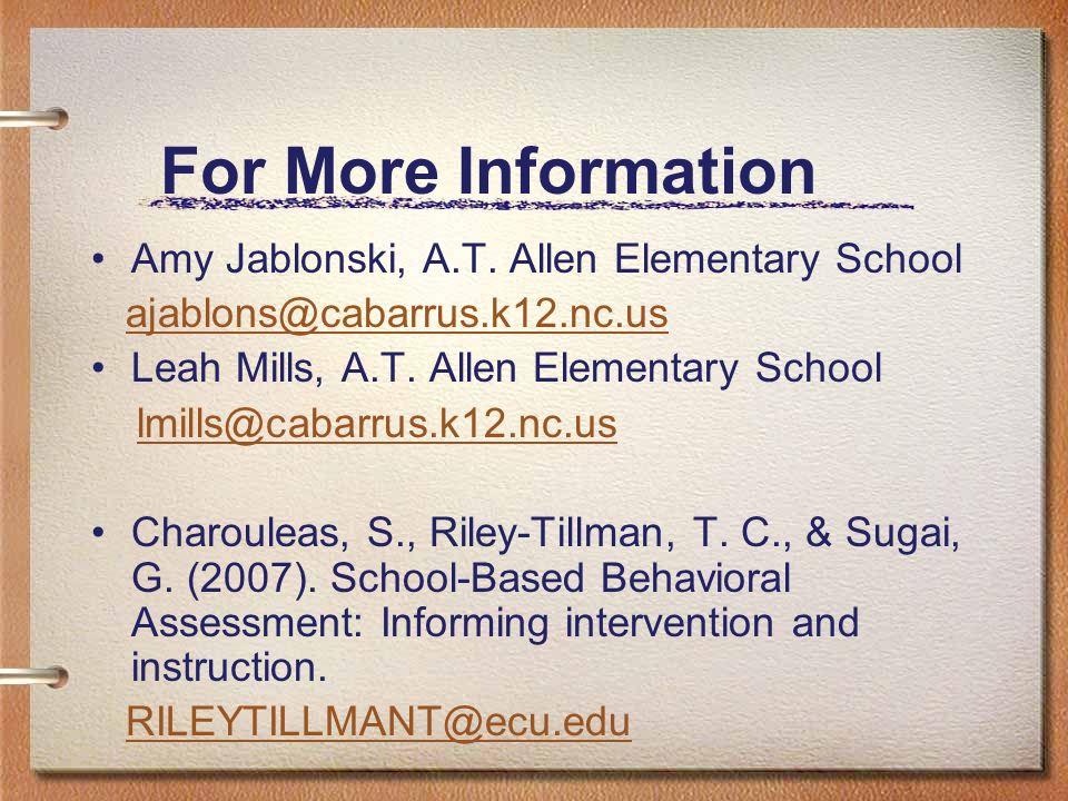 For More Information Amy Jablonski, A.T. Allen Elementary School