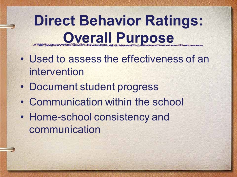 Direct Behavior Ratings: Overall Purpose