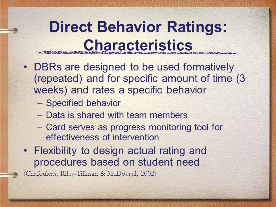 Direct Behavior Ratings: Characteristics