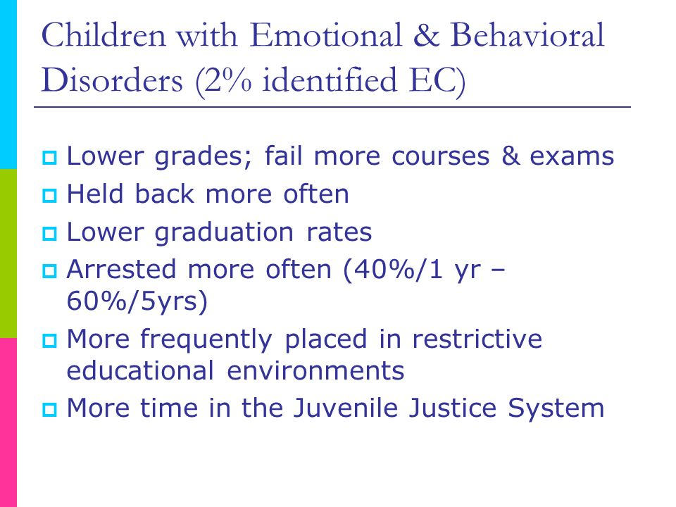 Children with Emotional & Behavioral Disorders (2% identified EC)