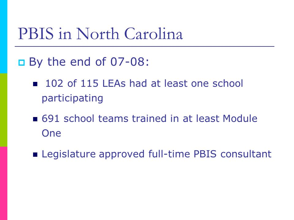 PBIS in North Carolina By the end of 07-08: