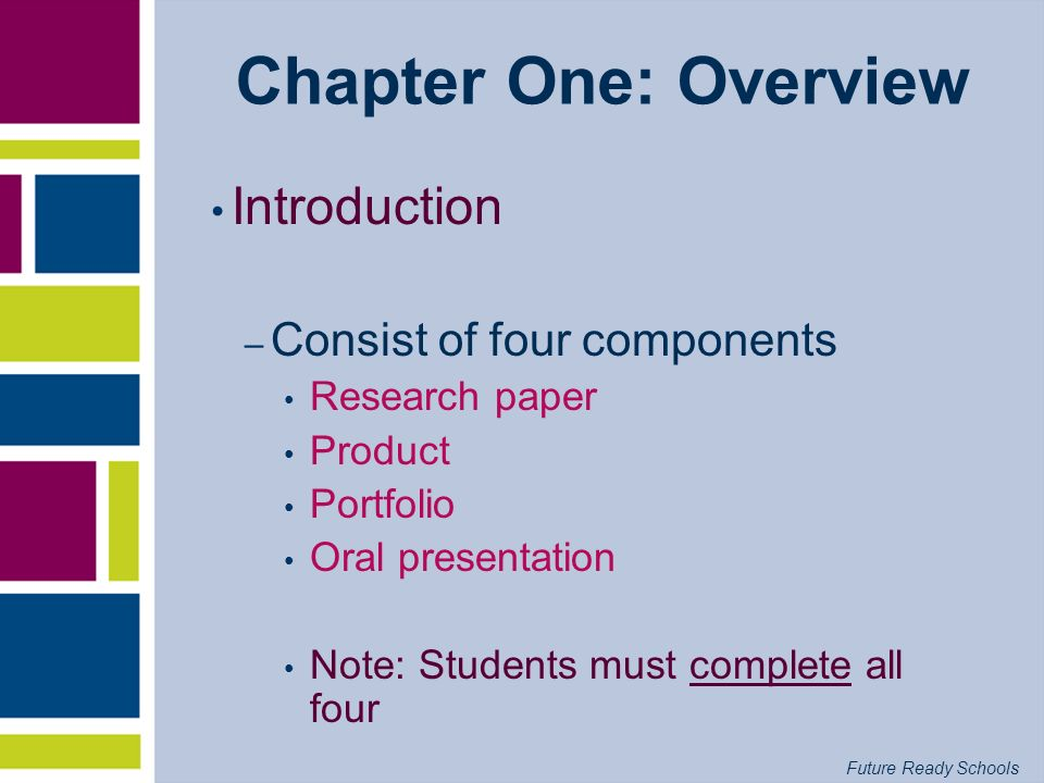 Chapter One: Overview Introduction Consist of four components