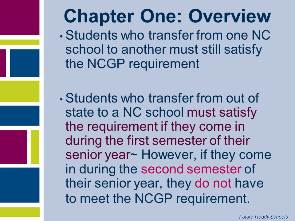 Chapter One: Overview Students who transfer from one NC school to another must still satisfy the NCGP requirement.