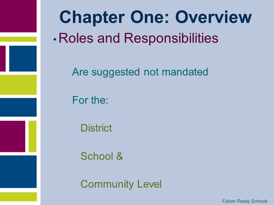 Chapter One: Overview Roles and Responsibilities