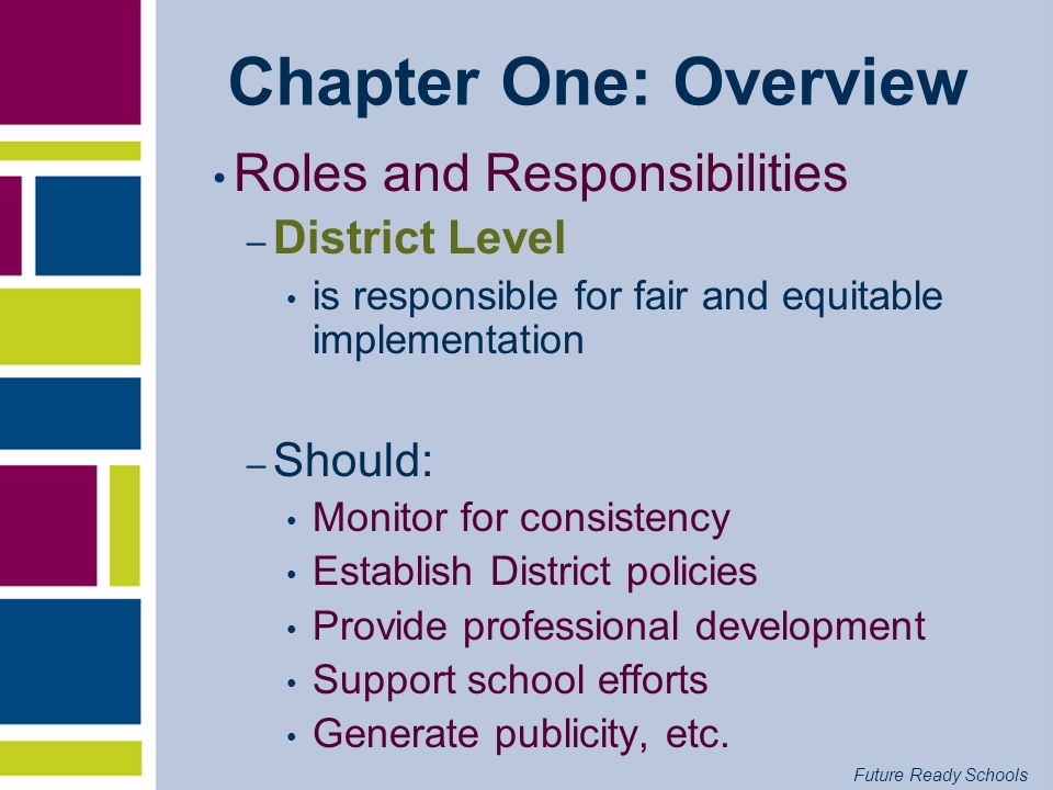 Chapter One: Overview Roles and Responsibilities District Level