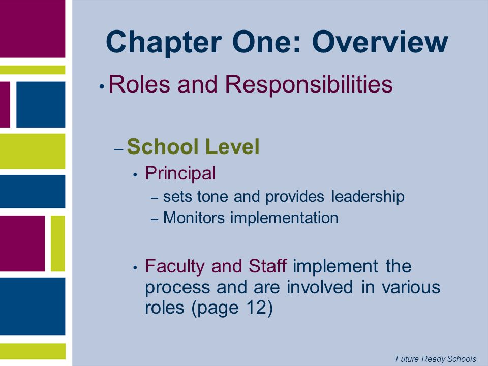 Chapter One: Overview Roles and Responsibilities School Level