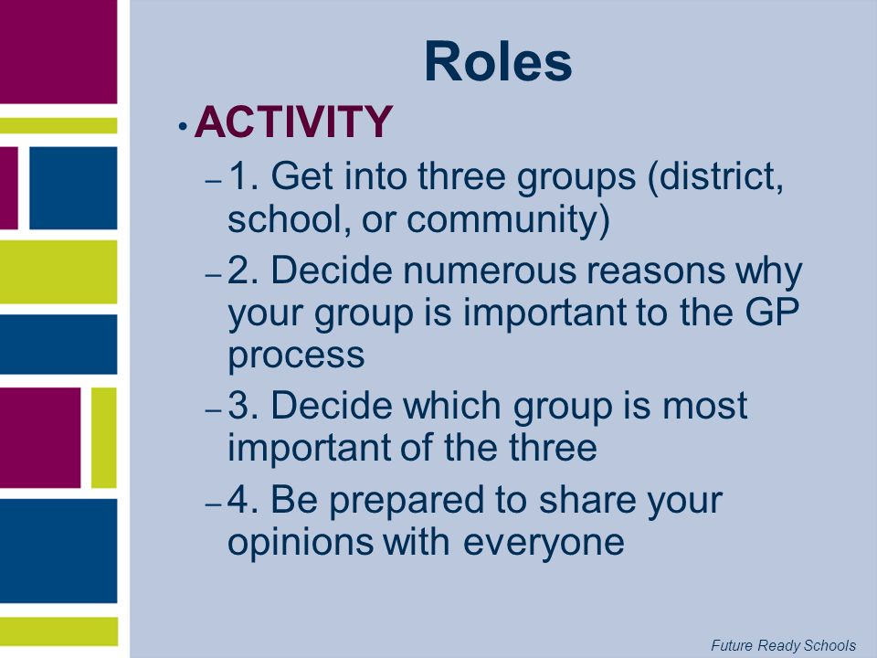 Roles ACTIVITY. 1. Get into three groups (district, school, or community) 2. Decide numerous reasons why your group is important to the GP process.