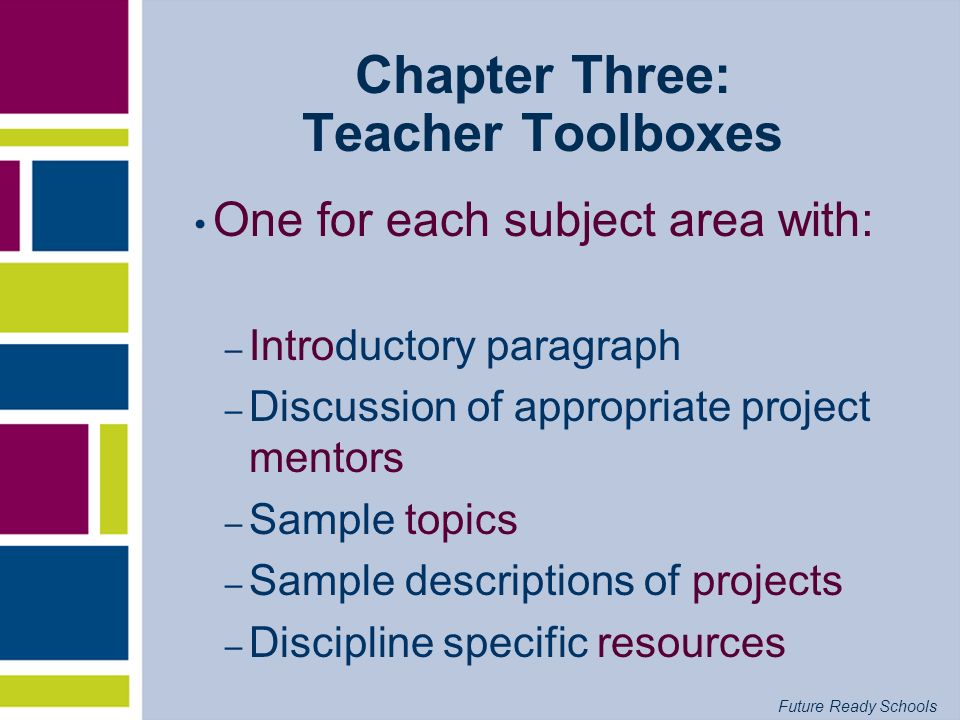Chapter Three: Teacher Toolboxes