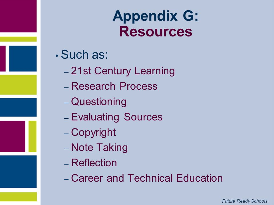 Appendix G: Resources Such as: 21st Century Learning Research Process