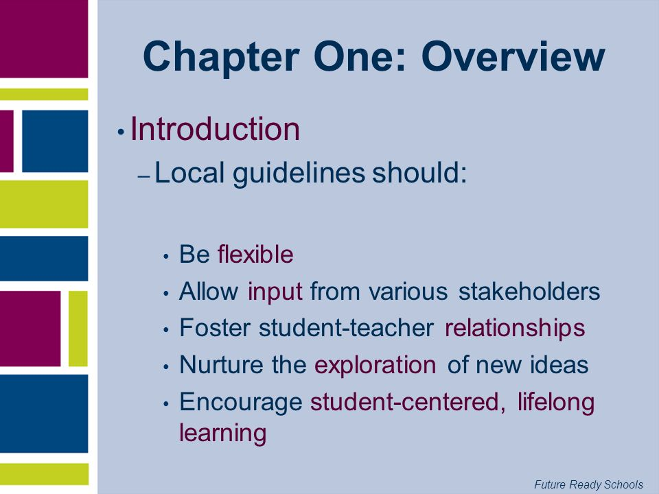 Chapter One: Overview Introduction Local guidelines should: