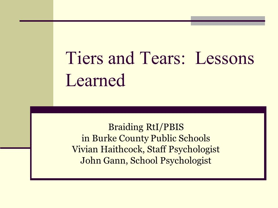 Tiers and Tears: Lessons Learned