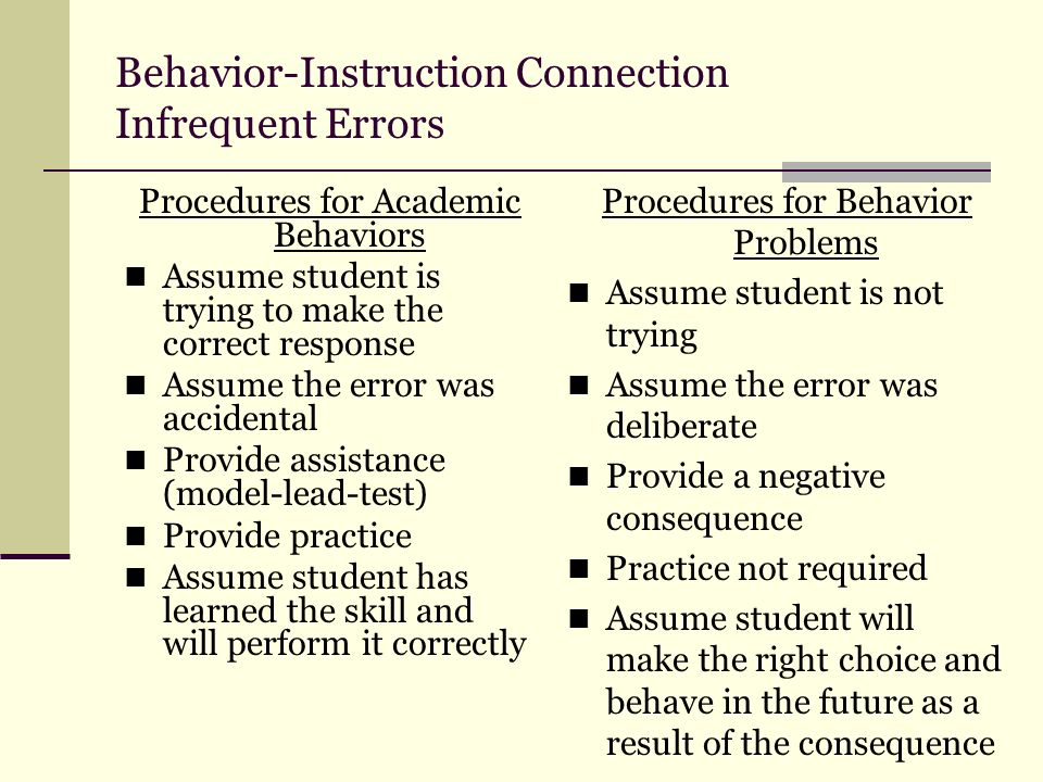 Behavior-Instruction Connection Infrequent Errors