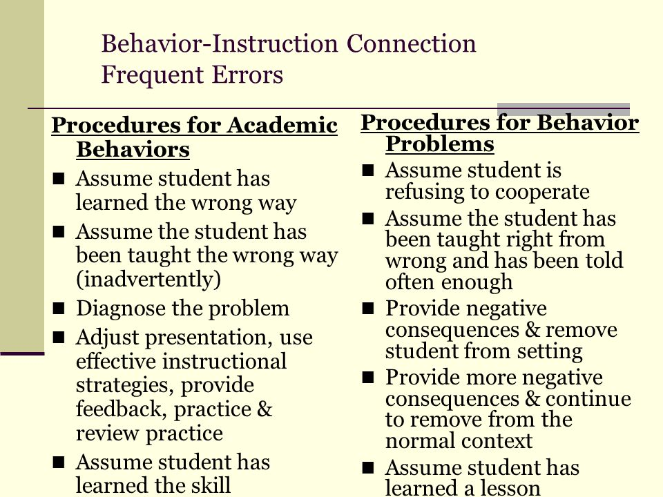 Behavior-Instruction Connection Frequent Errors