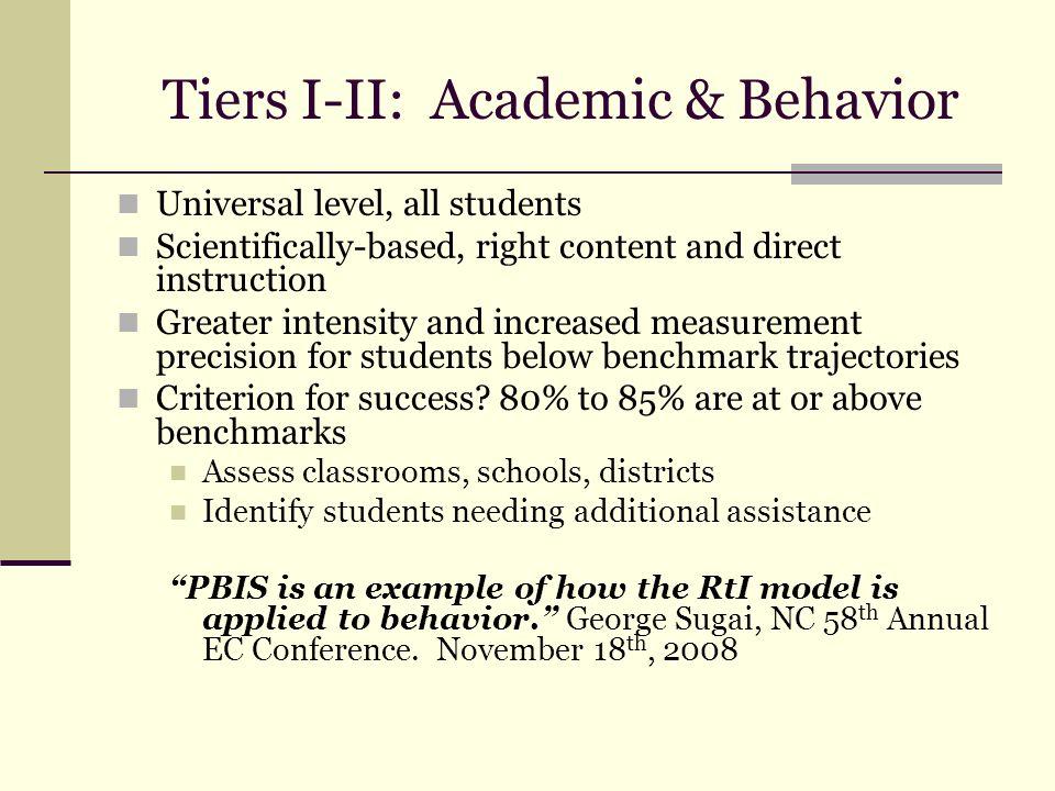 Tiers I-II: Academic & Behavior