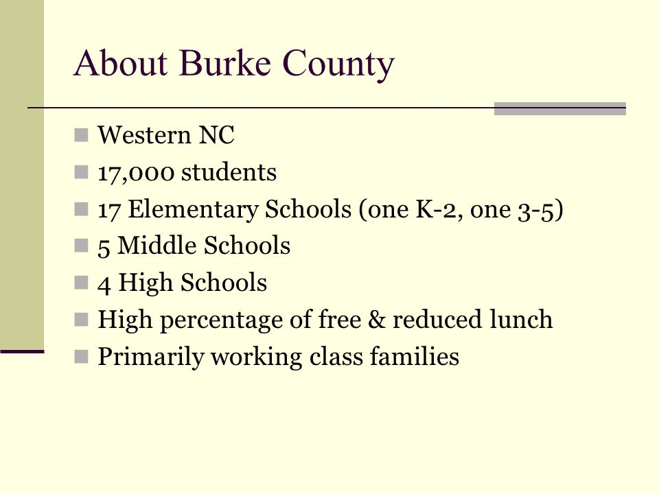 About Burke County Western NC 17,000 students