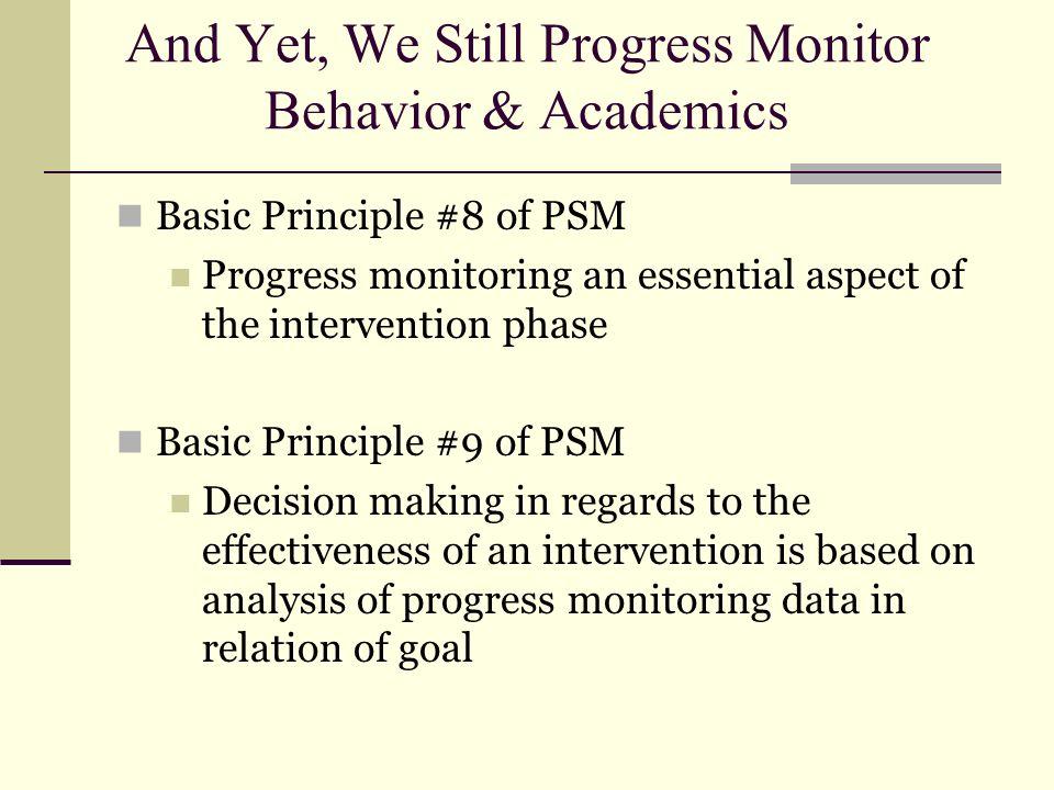 And Yet, We Still Progress Monitor Behavior & Academics
