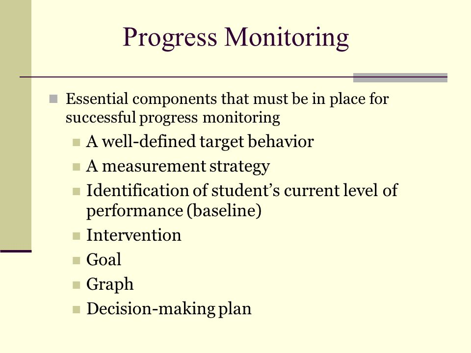 Progress Monitoring A well-defined target behavior
