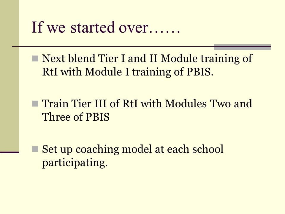 If we started over…… Next blend Tier I and II Module training of RtI with Module I training of PBIS.