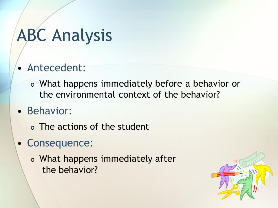 ABC Analysis Antecedent: Behavior: Consequence: