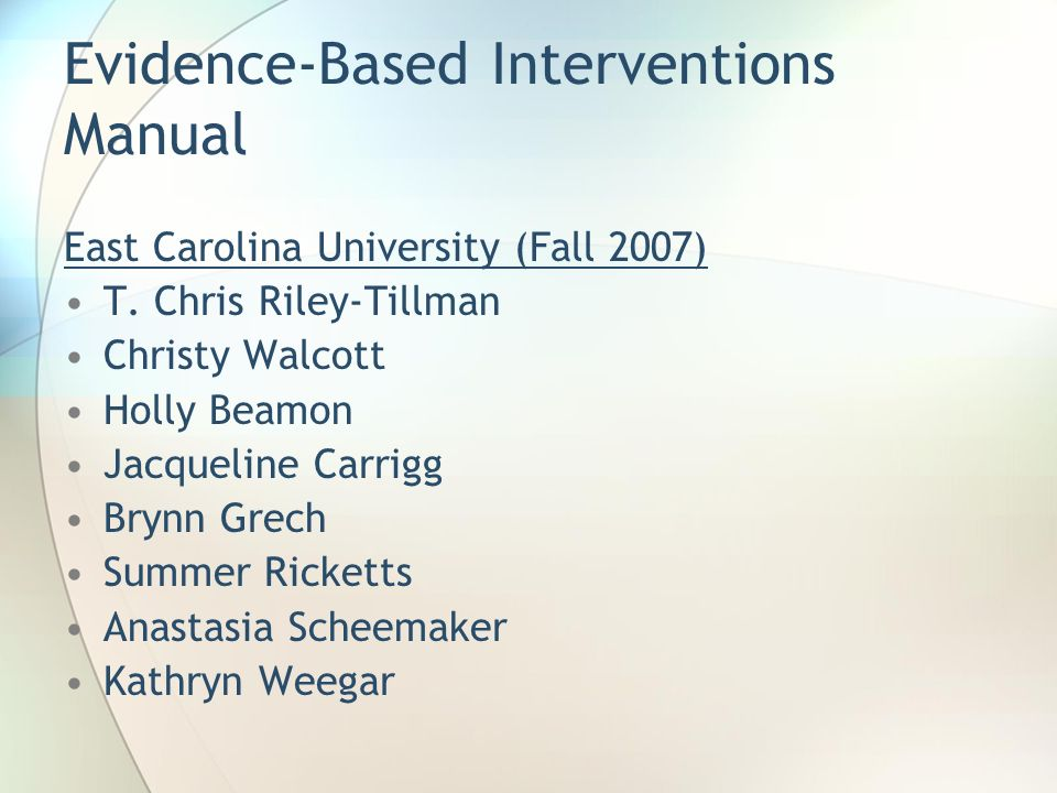 Evidence-Based Interventions Manual