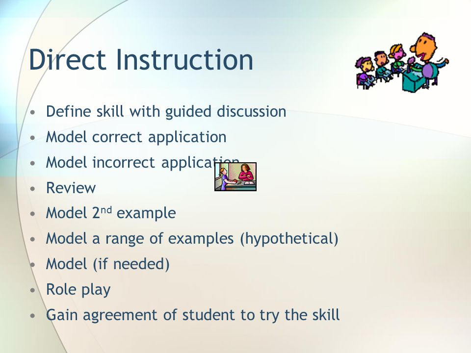 Direct Instruction Define skill with guided discussion