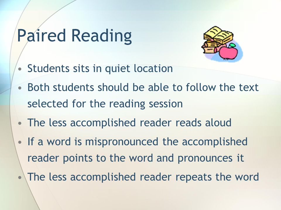 Paired Reading Students sits in quiet location